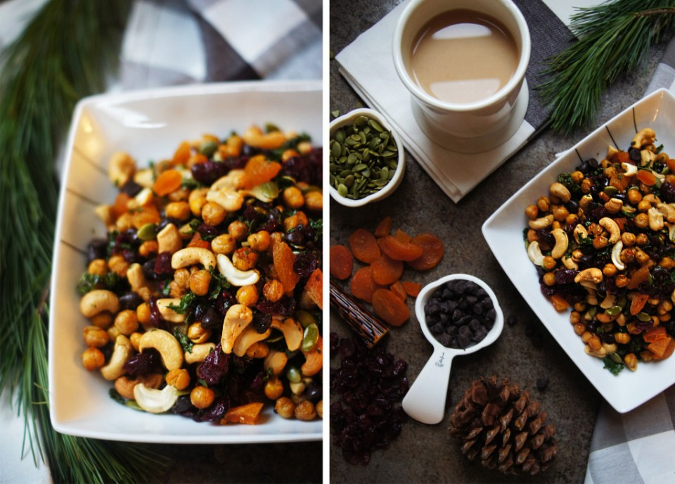 A healthy trail mix recipe that includes roasted chickpeas and mini kale chips