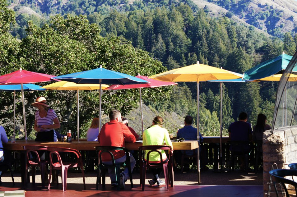 The amazing patio at Nepenthe Big Sur overlooks the ocean and the redwood forests