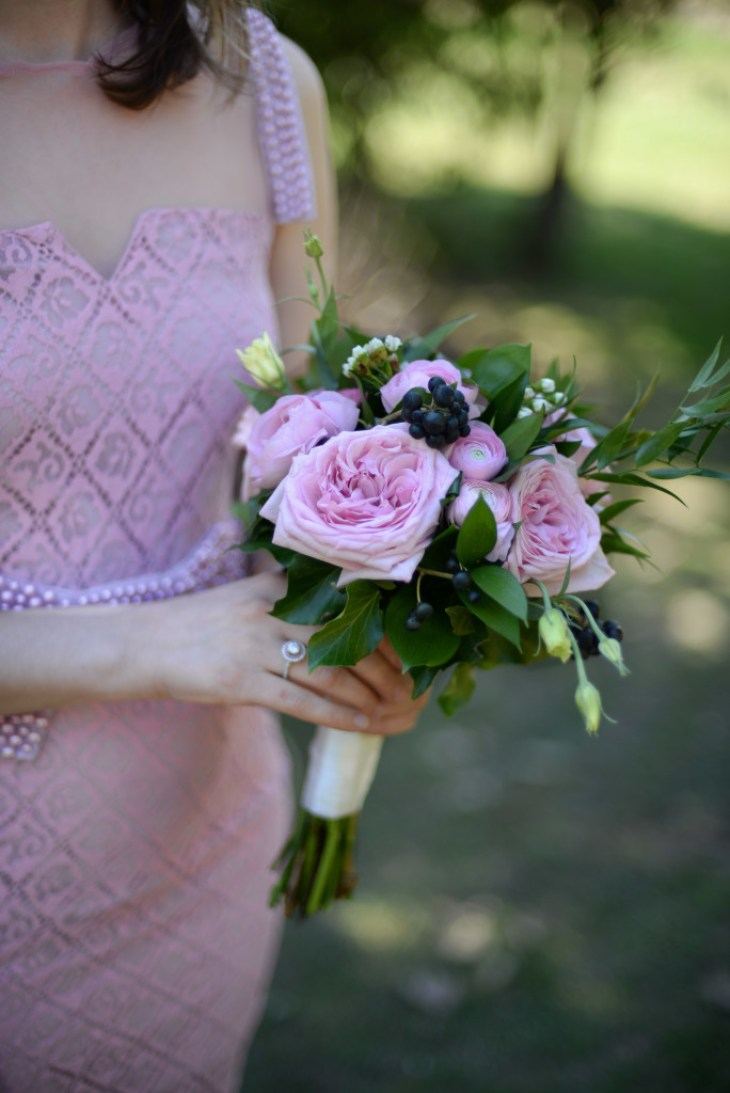 Small Bridesmaids' bouquet with garden roses