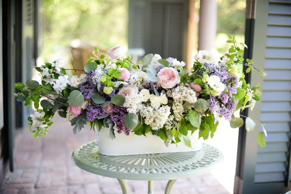 Lilac Arrangements featuring liacs, garden roses, and apple blossoms