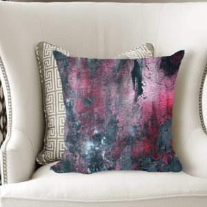 abstract pillow, industrial pillow, red and black pillow