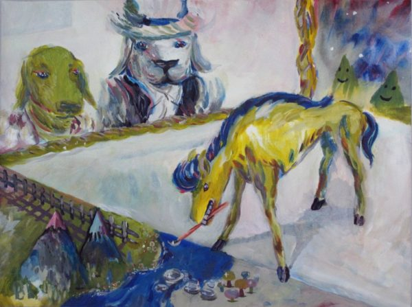 Brian Brooks, Brian Brooks, Dogs Viewing Horse Painting Lake In A Painting, 2013, acrylic on paper, 18 x 24 inches