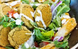 Baked Falafel with Tahini Dressing With Grilled Halloumi Salad | Recipe
