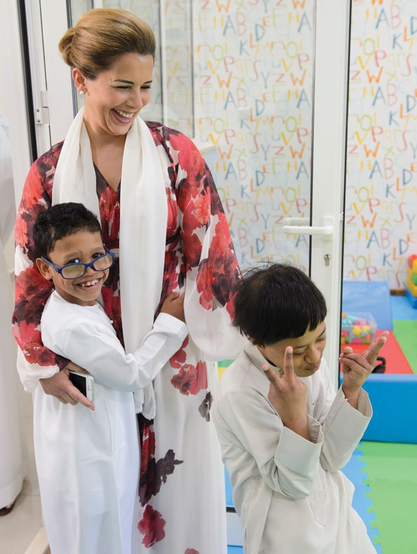HRH Princess Haya visits the family village, a home for orphaned children in Dubai.