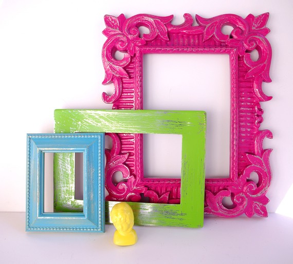 hot pink ornate picture frame