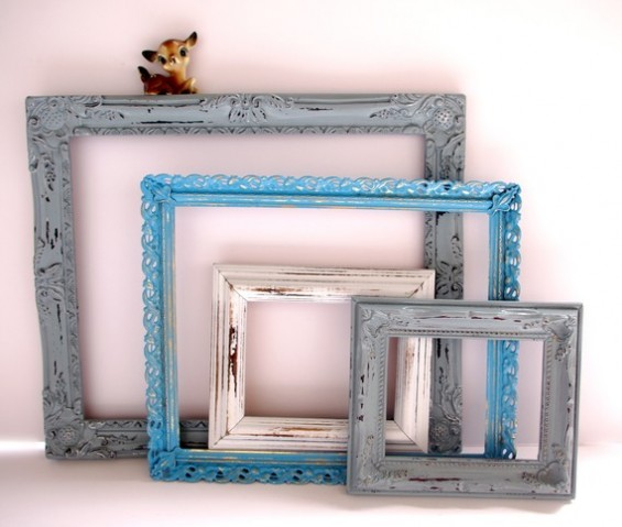 blue ornate picture frame