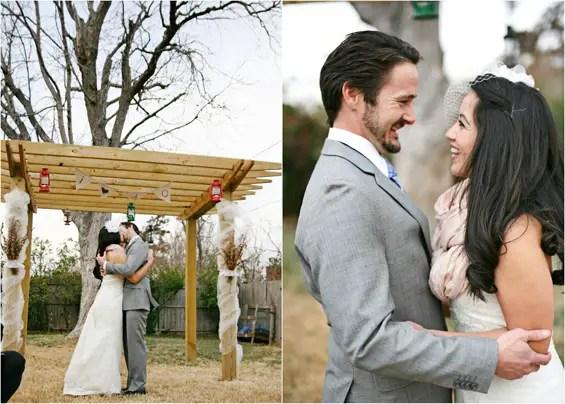 bride and groom big kiss