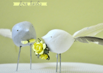 handmade wedding cake topper with birds