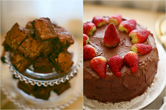 brownies and strawberry cake