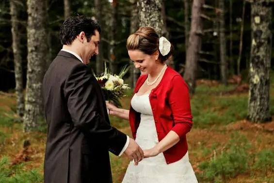 bride with cardigan