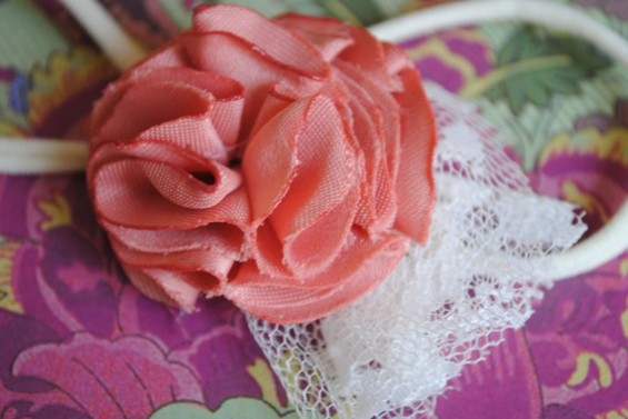 chiffon flower headband with lace tulle