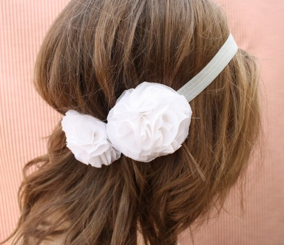 bridal halo headband with white chiffon flowers