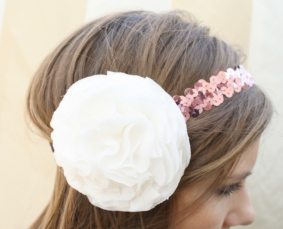 white chiffon headband with hot pink sequins