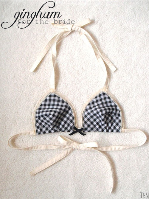 picnic wedding - gingham bra for the bride