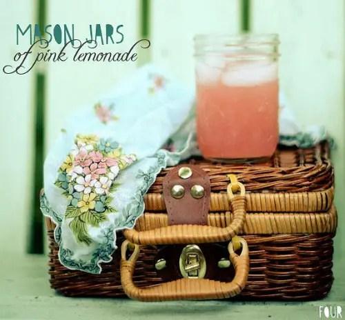 picnic wedding - mason jars of pink lemonade