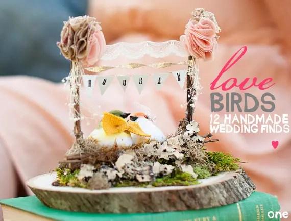 handmade love bird wedding items