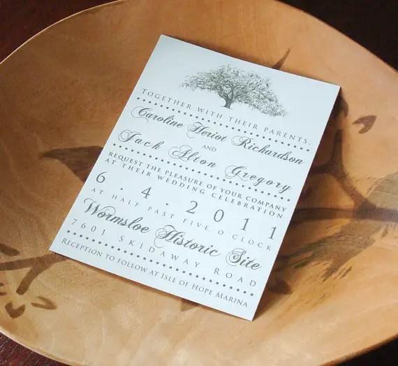 live oak wedding invitation