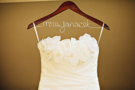 Custom bridal hangers with your new name emmaline bride for Personalized wire wedding dress hanger