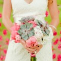 pink and green bouquet