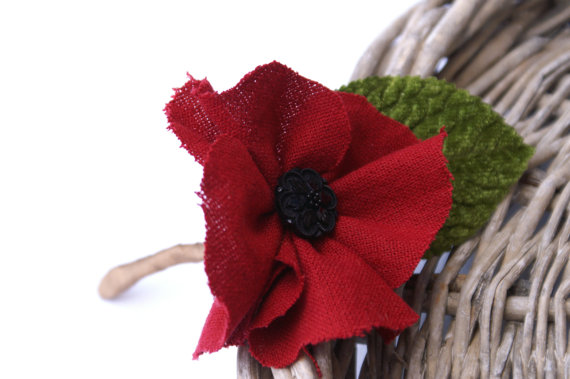 handmade wedding - fabric boutonniere