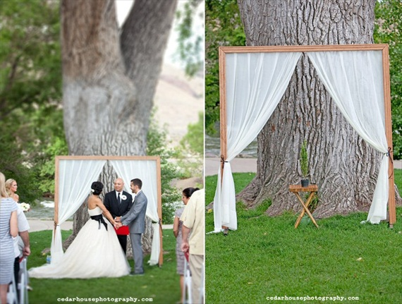 ceremony backdrops: curtains and wood molding