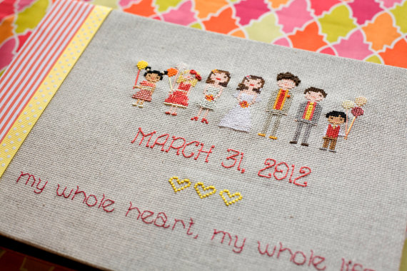 cross stitch wedding party guest book