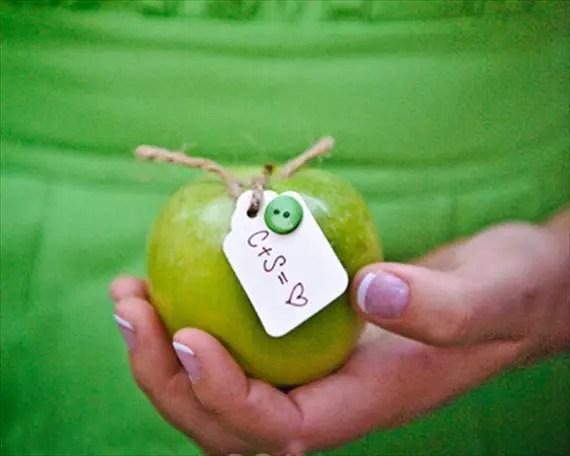 handmade wedding - granny smith apple escort cards