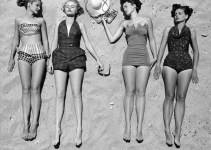 vintage swim photograph sunbathing on the beach