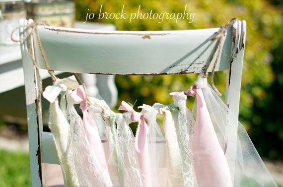 shabby chic wedding chair ribbons