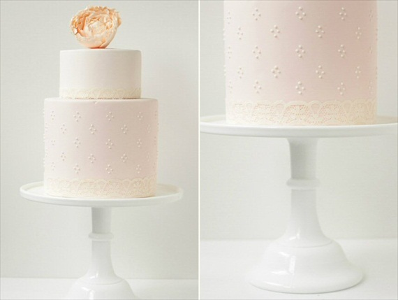 two tier wedding cake with peony