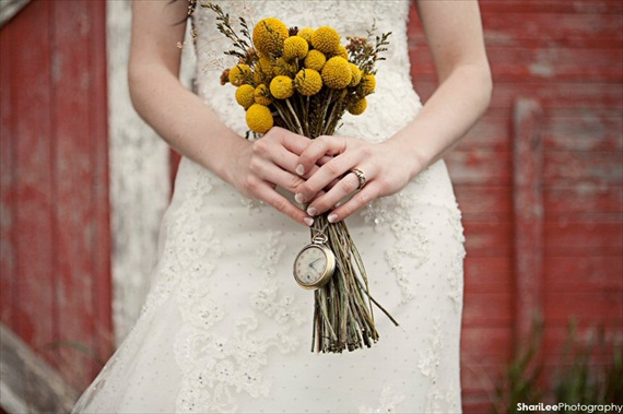 pocket watch wrapped around stems, vintage wedding billy button bouquet with wildflowers
