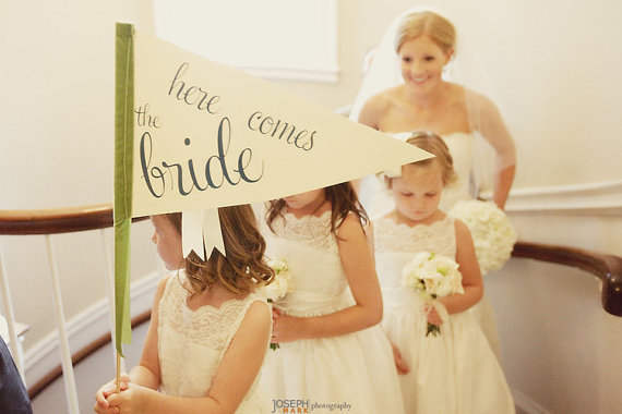 here comes the bride pennant