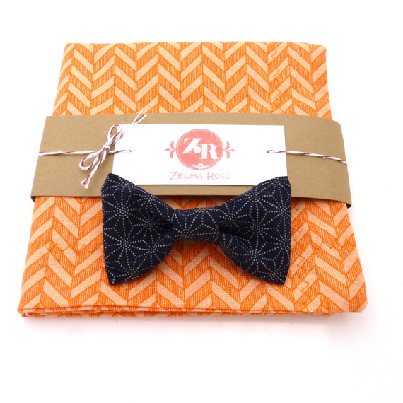 orange chevron wedding handkerchief and bow tie