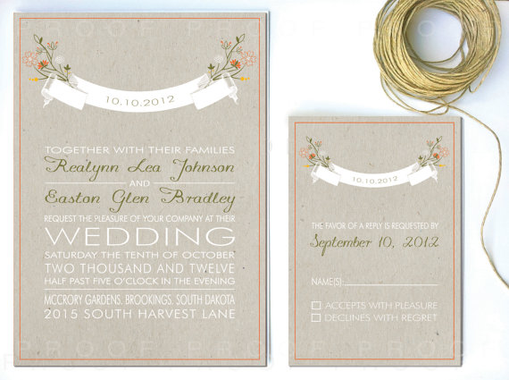 rustic wedding invitations with banner