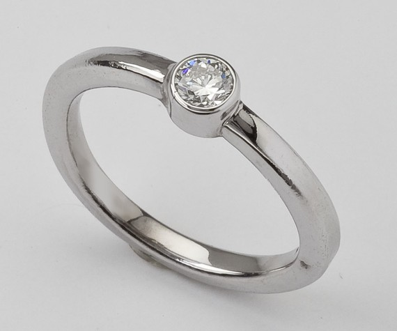 handmade wedding rings - solitaire bezel diamond engagement ring