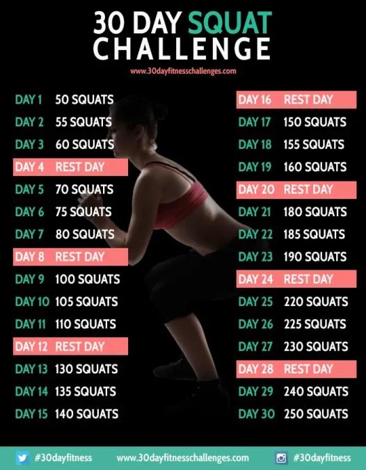 30 Day Squat Challenge (via http://30dayfitnesschallenges.com)