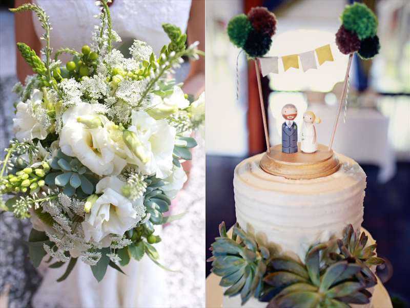 The bouquet and the cake, with a cute garland cake topper and painted wooden figurines | Photographer: Melissa Prosser Photography | via http://emmalinebride.com/real-weddings/colleen-ryans-lovely-savannah-wedding-at-the-mansion-on-forsyth-park