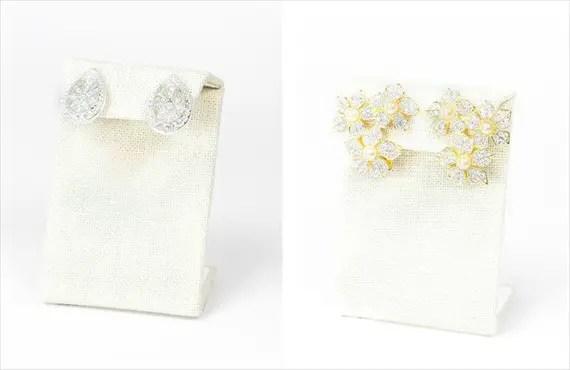 60-s kenneth jay lane rhinestone floral earrings and vintage diamonds | Vintage Wedding Jewelry (Sweet & Spark)