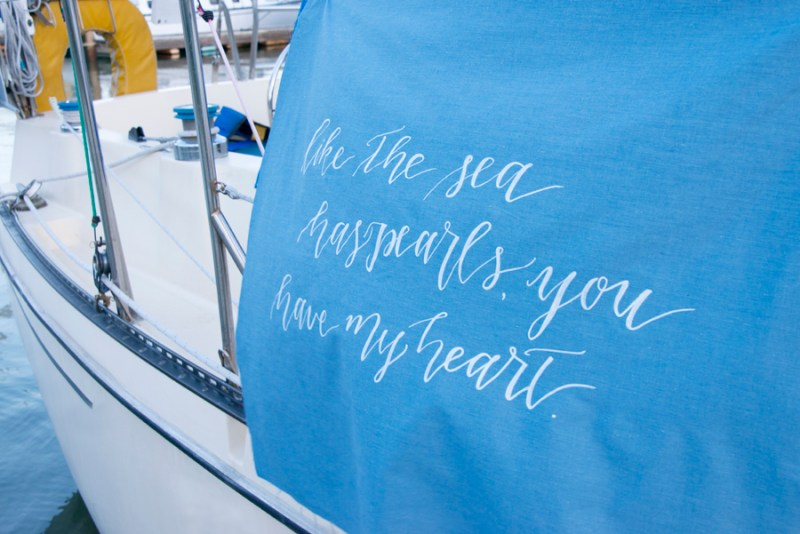 As the Sea Has Pearls, You Have My Heart | photo: christine glebov | linen calligraphy: a quaint soiree | via A Dreamy Seaside Wedding Shoot at Glen Cove Marina http://emmalinebride.com/real-weddings/seaside-wedding-glen-cove-marina/