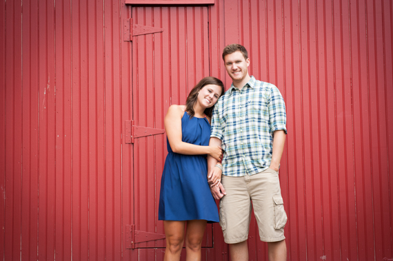 Scott Smith Photography - engagement shoot - couple in front of a red barn door