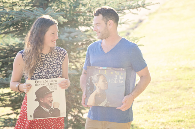 hipster engagement session with Frank Sinatra and Billy Holiday record album | Photo: White Ivory Photography | via http://emmalinebride.com/real-weddings/hipster-engagement-session-what-does-one-look-like/