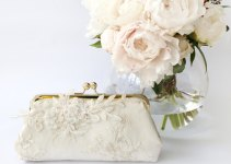 alencon lace bridal clutch bag