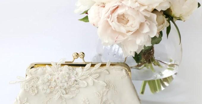 alencon lace bridal clutch bag