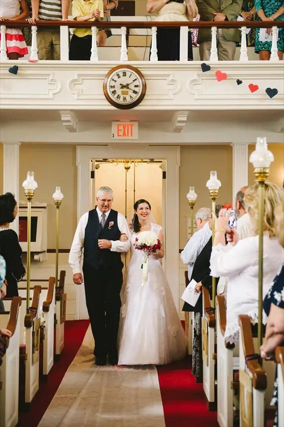 americana-wedding-bride-father-walking-down-aisle (photo: michelle gardella)