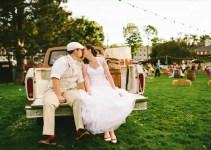 americana-wedding-bride-groom-kissing-on-pickup-truck