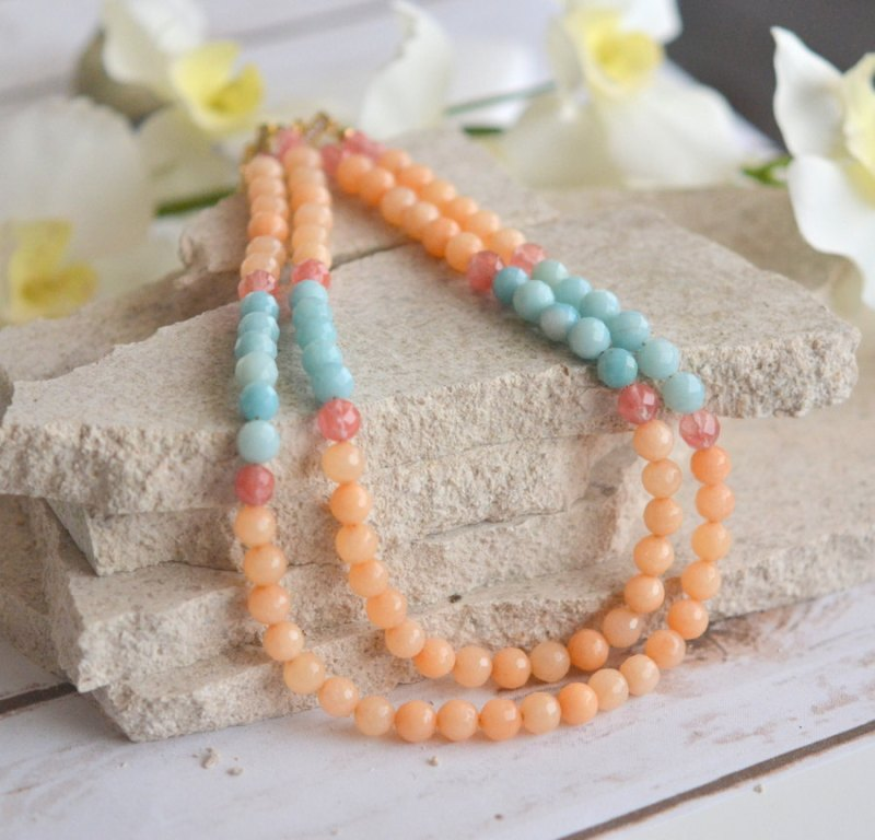 aqua and orange necklace | via Best Aquamarine Jewelry Finds on Etsy - http://emmalinebride.com/bride/best-aquamarine-jewelry/