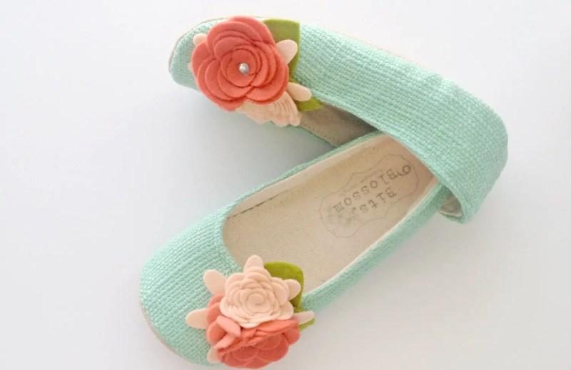 aqua flower girl shoes | handmade flower girl shoes via http://emmalinebride.com/spring/handmade-flower-girl-shoes/