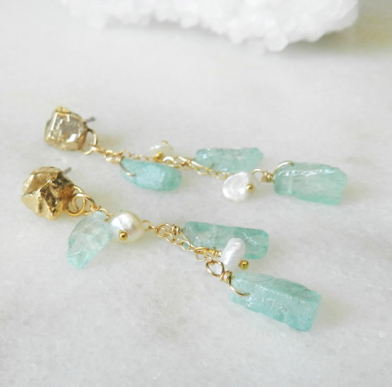 These aquamarine and pearl earrings are handmade and oh-so-lovely! | via Best Aquamarine Jewelry Finds on Etsy - http://emmalinebride.com/bride/best-aquamarine-jewelry/