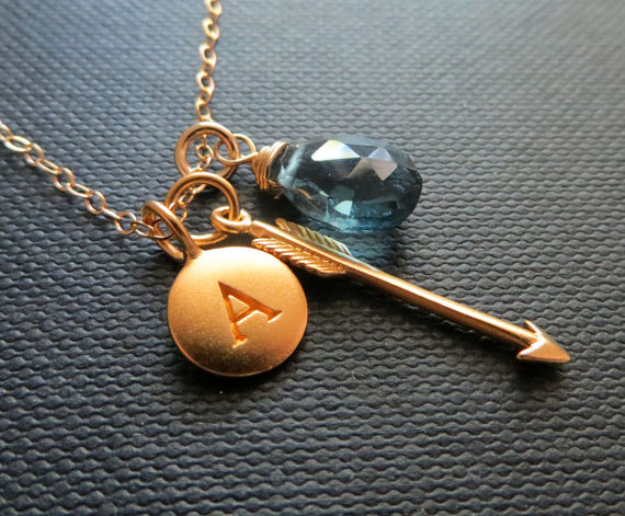 arrow bridesmaid necklace birthstone