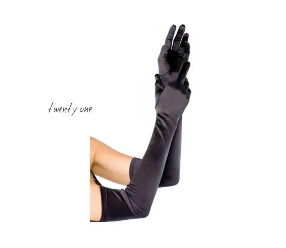 art deco wedding gloves long black